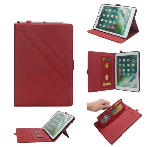 Flip Card Slots Stand Leather Tablet Case for iPad Pro 12.9-inch (2017) / Pro 12.9-inch (2015) - Red