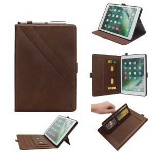 Flip Card Slots Stand Leather Tablet Protective Case for iPad Pro 12.9-inch (2017) / Pro 12.9-inch (2015) - Coffee
