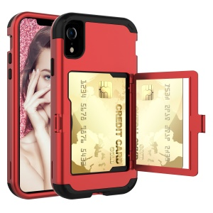 Shockproof PC Silicone Hybrid Card Slot Casing with Mirror for iPhone XR 6.1 inch - Red