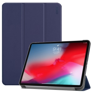 ENKAY Tri-fold Stand Leather Smart Protector Cover for iPad Pro 11-inch (2018) - Dark Blue
