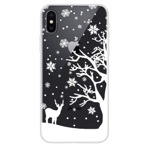 For iPhone XS/X Pattern Printing Soft TPU Back Phone Casing - Tree and Deer