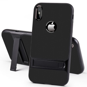ELEGANCE Grid Pattern TPU + PC Kickstand Cell Phone Casing for iPhone XS Max 6.5 inch - Black