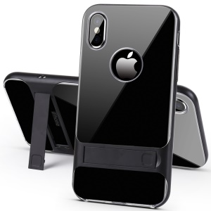 ELEGANCE TPU Plastic Hybrid Phone Case with Kickstand for iPhone XS Max 6.5 inch - Black