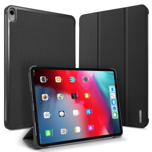 DUXDUCIS Domo Series Cloth Texture Tri-fold Stand PU Leather Smart Case for iPad Pro 12.9-inch (2018) - Black