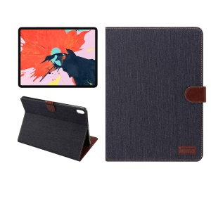 Jeans Cloth Texture Wallet Stand Leather Flip Case for iPad Pro 12.9-inch (2018) - Black Blue