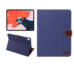Jeans Cloth Texture Wallet Stand Leather Flip Shell for iPad Pro 12.9-inch (2018) - Dark Blue