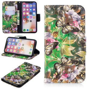 Patterned Light Spot Decor Leather Wallet Case for iPhone XS / X 5.8 inch - Butterfly and Flowers
