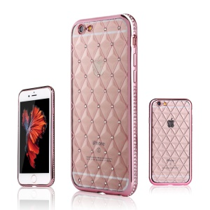 SHENGO Rhombus Rhinestone TPU Phone Case for iPhone 6 6s - Pink