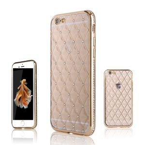 SHENGO Rhombus Rhinestone TPU Shell for iPhone 6s Plus/6 Plus - Gold