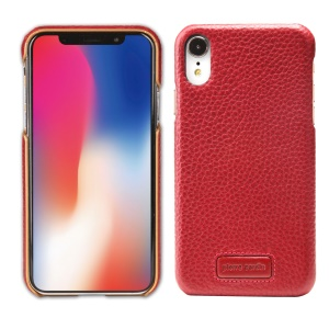 PIERRE CARDIN Litchi Skin Genuine Leather Coated PC Cell Phone Cover for iPhone XR 6.1 inch - Red
