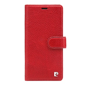 PIERRE CARDIN Litchi Skin Genuine Leather Case for iPhone XS Max 6.5 inch - Red
