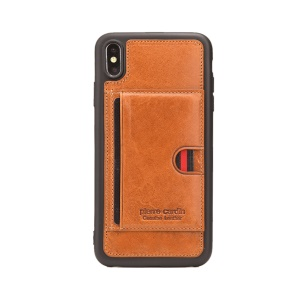 PIERRE CARDIN for iPhone XS Max 6.5 inch Genuine Leather Coated TPU Case with [Card Slot Kickstand] - Brown
