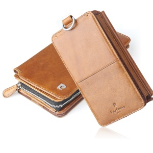 PIERRE CARDIN [13-Card-Slot] Leather Wallet Case Detachable 2-in-1 Pouch for iPhone XR 6.1 inch - Brown