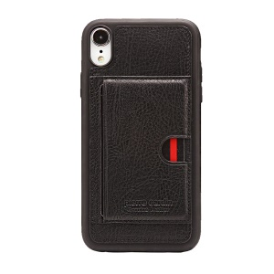 PIERRE CARDIN for iPhone XR 6.1 inch Genuine Leather Coated TPU Cover with Card Holder - Black