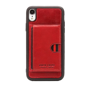 PIERRE CARDIN for iPhone XR 6.1 inch Genuine Leather Coated TPU Shell with Kickstand - Red