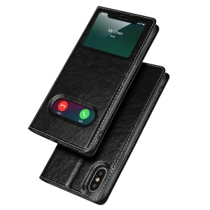 Dual View Window Genuine Leather Flip Case for iPhone XS 5.8 inch - Black