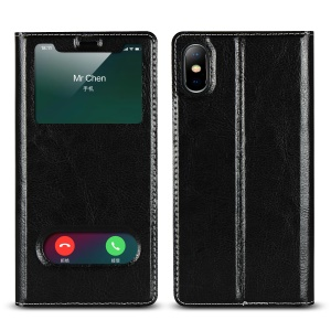 Dual View Window Genuine Leather Phone Case with Stand for iPhone XS Max 6.5 inch - Black