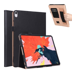 For iPad Pro 12.9-inch (2018) Vintage PU Leather Smart Case with [Card Slots Stand] - Black