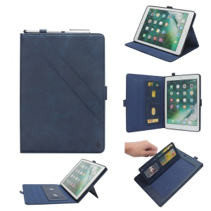 Multi-Slot PU Leather Flip Case with Stand for iPad 9.7-inch (2018) / 9.7-inch (2017) / iPad Pro 9.7 inch (2016) / Air 2 / Air - Blue
