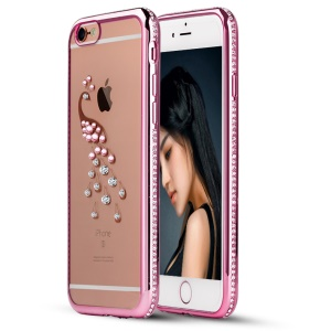SHENGO Xinya Series Crystals Decorated TPU Cover for iPhone 6 6s - Peacock / Pink