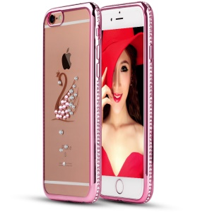 SHENGO Xinya Series Crystals Decorated TPU Cover for iPhone 6 6s - Swan / Pink