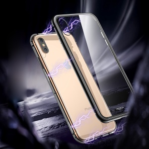 ROCK for iPhone XS 5.8 inch Magnetic Adsorption Metal Frame + Tempered Glass Back Hybrid Cover - Black