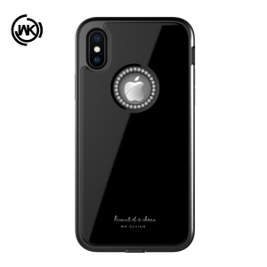 WK Ginstone Series Bling Rhinestone Decor Tempered Glass + TPU + PC Cover for iPhone XS / X 5.8 inch - Black
