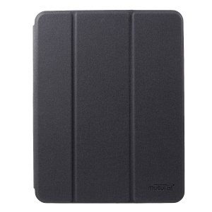 MUTURAL Smart Stand Jeans Cloth Texture PU Leather Case with Pen Slot for iPad Pro 12.9-inch (2018) - Black