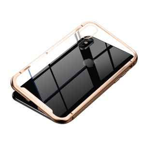 BASEUS Magnetic Metal Frame + Tempered Glass Shell for iPhone XS Max 6.5 inch - Gold