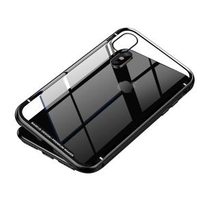 BASEUS Magnetic Metal Frame + Tempered Glass Phone Casing for iPhone XS 5.8 inch - Black