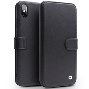 QIALINO Top Layer Cowhide Leather Magnetic Clasp Flip Case for iPhone XS Max 6.5 inch - Black