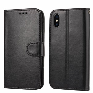 Solid Color PU Leather Wallet Case for iPhone XS / X 5.8 inch - Black
