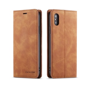 FORWENW Leather Wallet Case for iPhone XS Max 6.5 inch - Brown