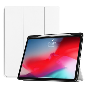 Tri-fold Leather Stand Smart Cover with Pen Slot for iPad Pro 11-inch (2018) - White