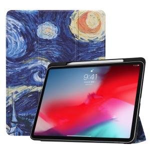 Pattern Printing Leather Smart Case with Tri-fold Stand for iPad Pro 11-inch (2018) - Oil Painting
