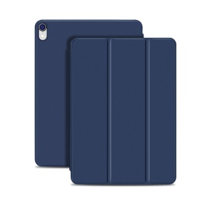 [Magnetic Attraction] Tri-fold Smart Folio Leather Tablet Cover for iPad Pro 11-inch (2018) - Dark Blue