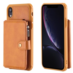 Multi-functional Zipper Wallet Leather Coated TPU Shell for iPhone XR 6.1 inch - Brown