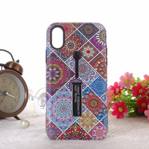Embossment Ethnic Style Pattern TPU + PC Hybrid Phone Shell with Kickstand for iPhone XS Max 6.5 inch - Grids
