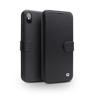 QIALINO for iPhone XS / X Top Layer Cowhide Leather Magnetic Clasp Mobile Case - Black