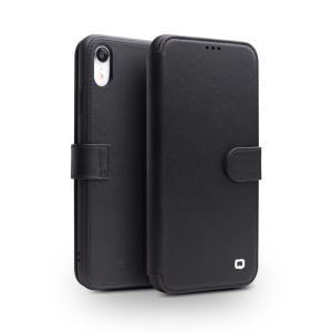 QIALINO Top Layer Cowhide Leather Magnetic Clasp Phone Case for iPhone XR 6.1 inch - Black
