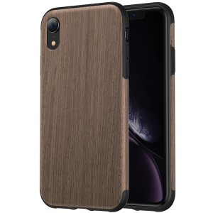 ROCK Wood Element Series Wood Slice + TPU Mobile Phone Case for iPhone XR 6.1 inch - Black Rosewood