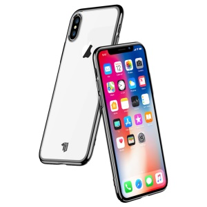 X-LEVEL Série Dawn [bordas Galvanizadas] Caso Difícil PC Claro Para O Iphone XS Max 6,5 Polegadas - Preto