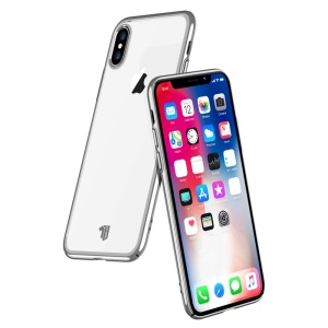 X-LEVEL Dawn Series Electroplated Edges Clear PC Hard Shell for iPhone XS Max 6.5 inch - Silver