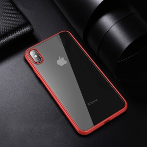 IPAKY Clear PC and TPU Hybrid Shockproof Cover for iPhone XS Max 6.5 inch - Red
