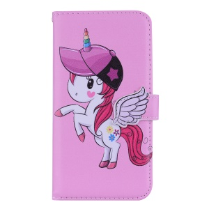Unicorn Pattern Wallet Leather Case with Mirror for iPhone XR 6.1 inch - Pink