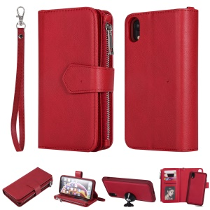 Detachable 2-in-1 TPU + Zipper Wallet Stand Leather Portable Casing for iPhone XR 6.1 inch - Red
