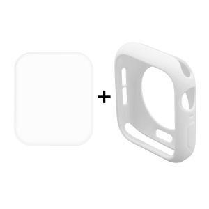 HAT PRINCE for Apple Watch Series 4 40mm TPU Protective Case + 3D Full Size Curved Hot Bending HD Clear PET Film - White