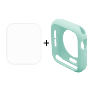 HAT PRINCE for Apple Watch Series 4 44mm TPU Protective Casing + 3D Full Size Curved Hot Bending HD Clear PET Film - Cyan