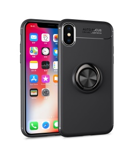 LENUO for iPhone XS/X 5.8 inch Case [Metal Ring Bracket] TPU Case Built-in Magnetic Metal Sheet - All Black