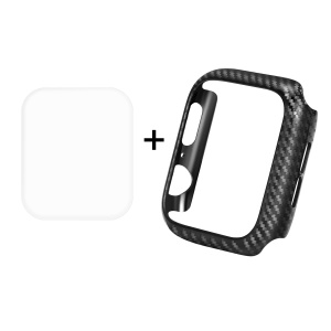 HAT PRINCE for Apple Watch Series 5 4 44mm Carbon Fiber Texture TPU Protective Case + 3D Full Size Curved Hot Bending HD Clear PET Film